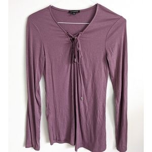 Dynamite V-neck Tops Long Sleeve Lace Design